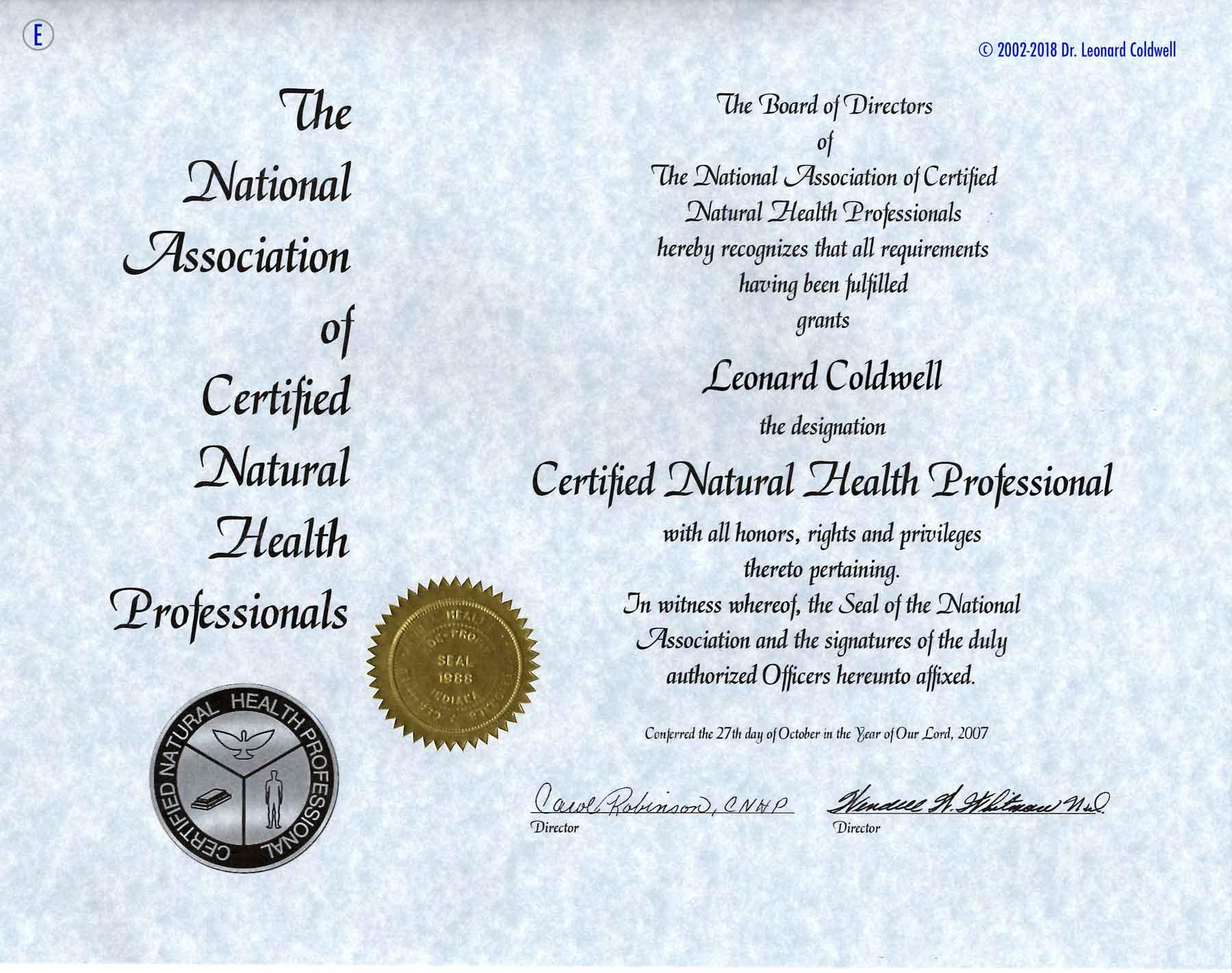 E. Urkunde zum Arzt für Naturheilkund äquivalent CNHP Zertifiezierter Naturheilkundlicher Arzt