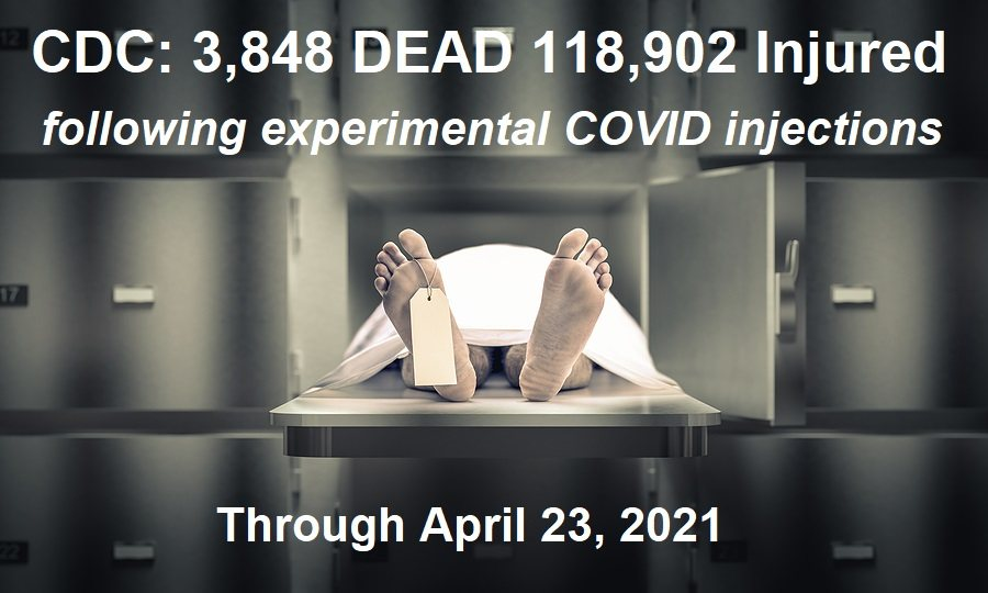 GENOCIDE in the U.S. Continues: 3,848 DEATHS 118,902 Injuries Following COVID Injections – Children Now being Reported as Dying Also